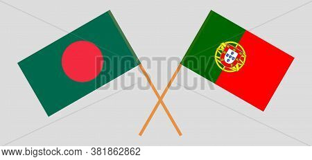 Crossed Flags Of Bangladesh And Portugal. Official Colors. Correct Proportion. Vector Illustration