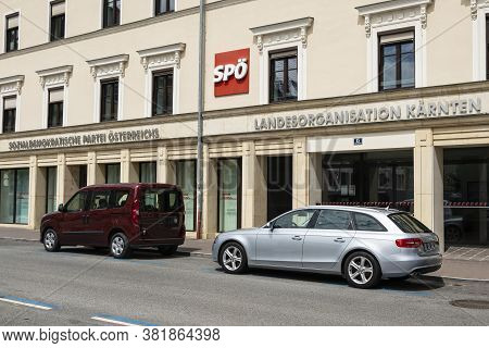 Klagenfurt, Austria. August 2020.  The Headquarters Of The Local Branch Of The Austrian Social Democ