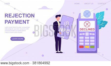 Businessman Holding A Bank Card With Bank Teller Machine Showing Nfs Payment Declined, Web Page Temp