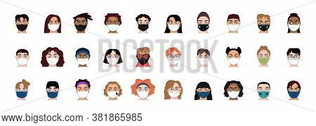 Set Of People Wearing A Face Masks Wearing A Face Masks - Vector