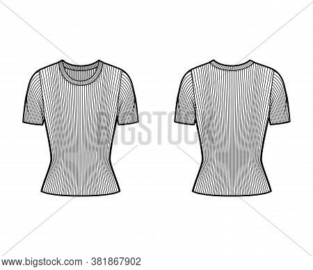 Ribbed Crew Neck Knit Sweater Technical Fashion Illustration With Short Rib Sleeves, Close-fitting S