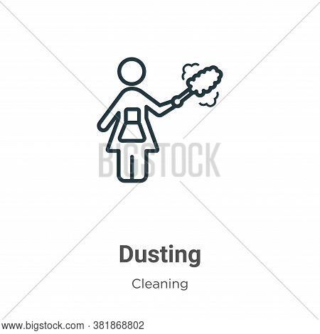 Dusting icon isolated on white background from cleaning collection. Dusting icon trendy and modern D
