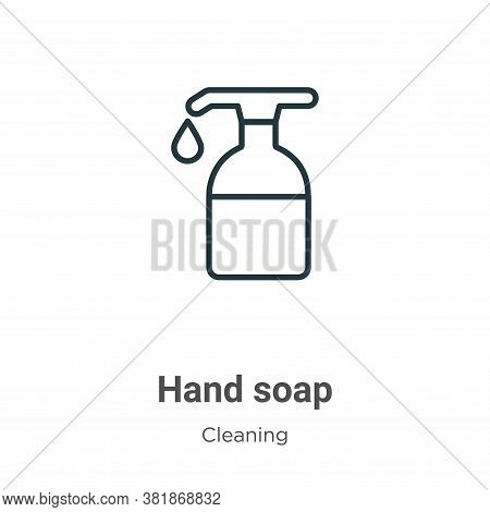 Hand soap icon isolated on white background from cleaning collection. Hand soap icon trendy and mode