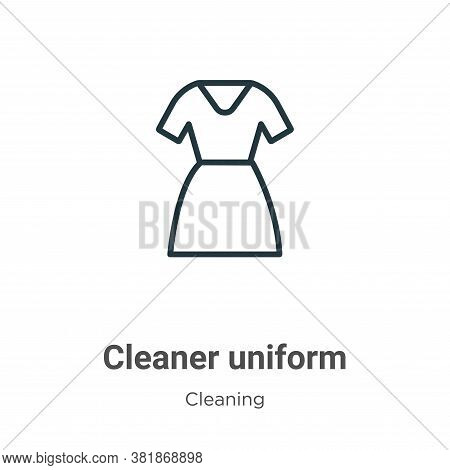 Cleaner uniform icon isolated on white background from cleaning collection. Cleaner uniform icon tre