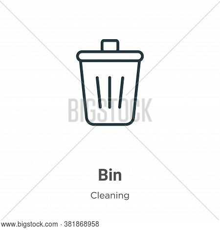 Bin icon isolated on white background from cleaning collection. Bin icon trendy and modern Bin symbo