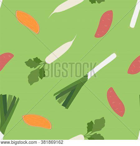 Daikon Radish, Sweet Potato And Leek. Seamless Vector Patterns