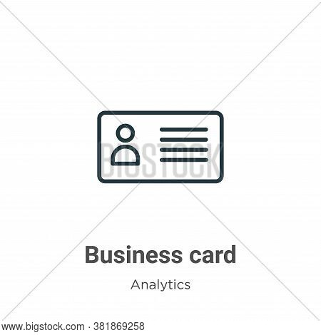 Business card icon isolated on white background from business collection. Business card icon trendy