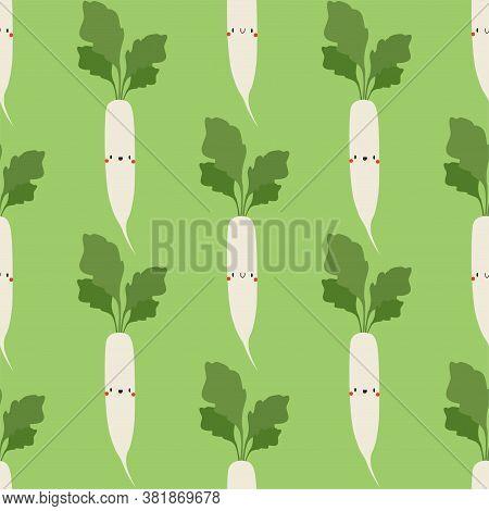 Kawaii Cartoon Daikon Radish. Vegetables, Healthy Food. Seamless Vector Patterns