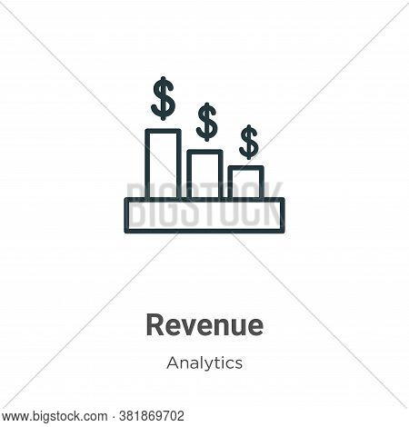 Revenue icon isolated on white background from business collection. Revenue icon trendy and modern R