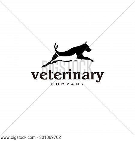 Veterinary Logo Design Fun Black Color Breeding Pet Company Icon Illustration Template Idea