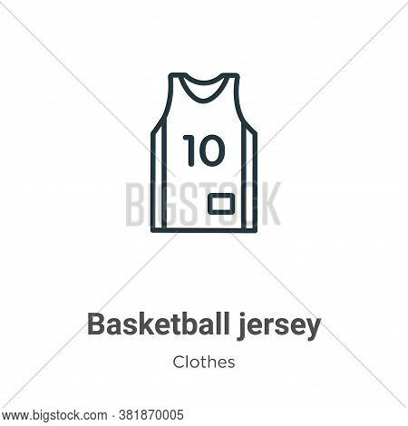 Basketball jersey icon isolated on white background from clothes collection. Basketball jersey icon