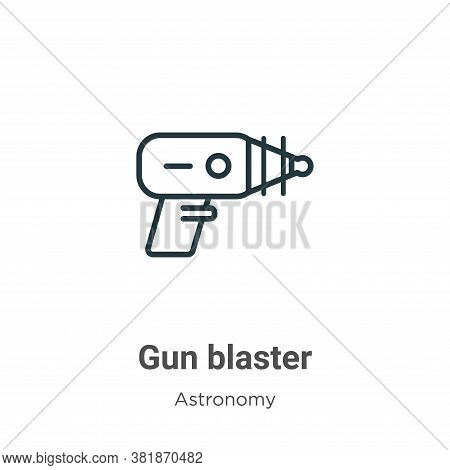 Gun blaster icon isolated on white background from astronomy collection. Gun blaster icon trendy and