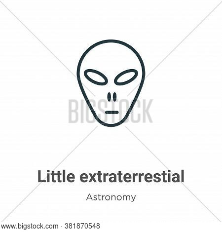 Little extraterrestial icon isolated on white background from astronomy collection. Little extraterr