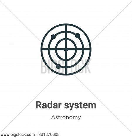Radar system icon isolated on white background from astronomy collection. Radar system icon trendy a