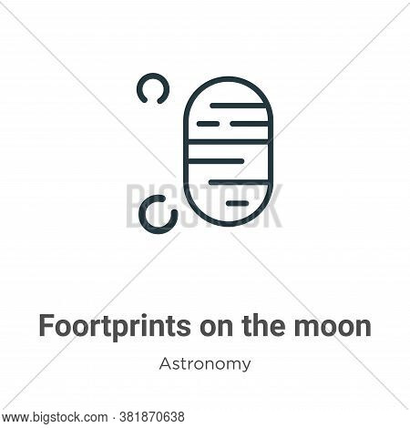 Foortprints on the moon icon isolated on white background from astronomy collection. Foortprints on