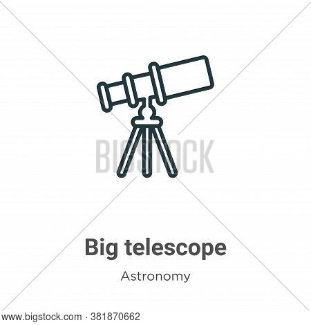 Big telescope icon isolated on white background from astronomy collection. Big telescope icon trendy