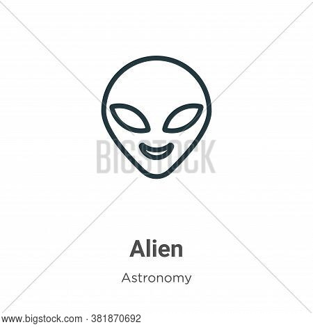 Alien icon isolated on white background from astronomy collection. Alien icon trendy and modern Alie