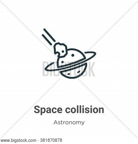Space collision icon isolated on white background from astronomy collection. Space collision icon tr