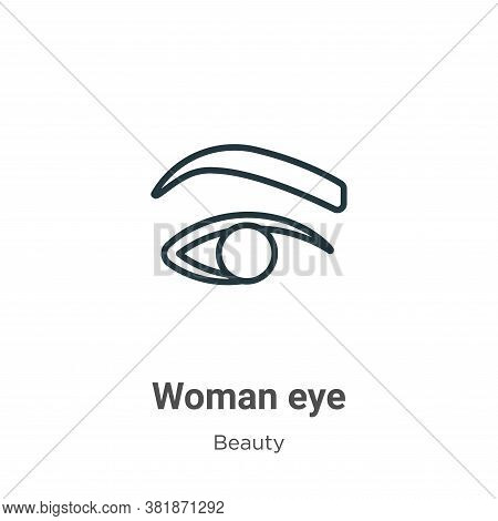 Woman eye icon isolated on white background from beauty collection. Woman eye icon trendy and modern