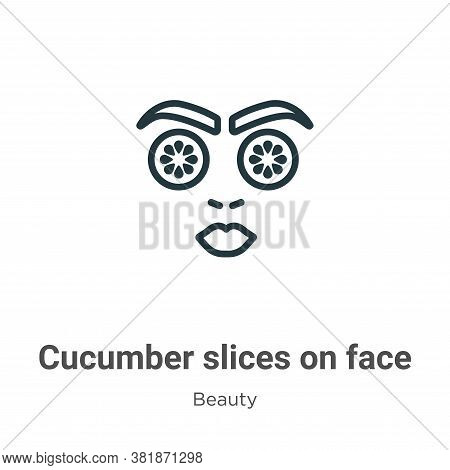 Cucumber slices on face icon isolated on white background from beauty collection. Cucumber slices on