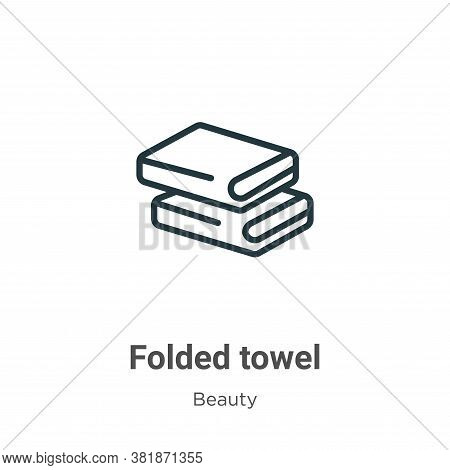 Folded towel icon isolated on white background from beauty collection. Folded towel icon trendy and