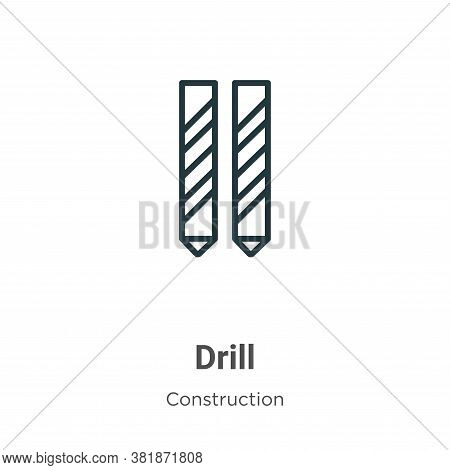 Drill icon isolated on white background from construction collection. Drill icon trendy and modern D
