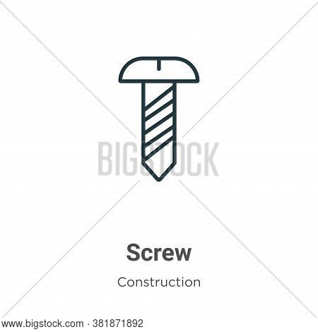 Screw icon isolated on white background from construction collection. Screw icon trendy and modern S