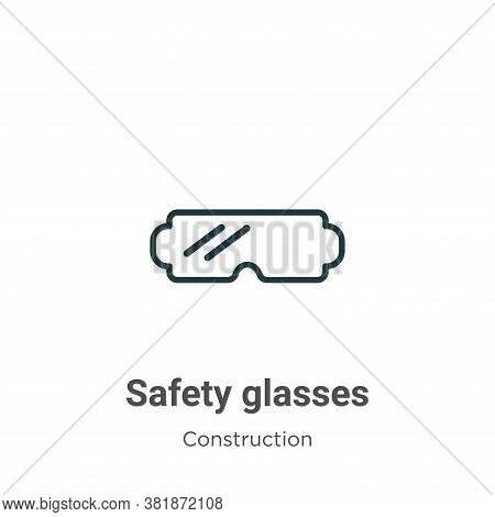 Safety glasses icon isolated on white background from construction collection. Safety glasses icon t