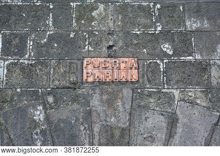 Manila, Ph - Oct. 5 - Puerta Del Parian Sign At Intramuros Walled City On October 5, 2019 In Manila,