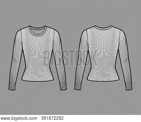 Ribbed Crew Neck Knit Sweater Technical Fashion Illustration With Long Sleeves, Close-fitting Shape.