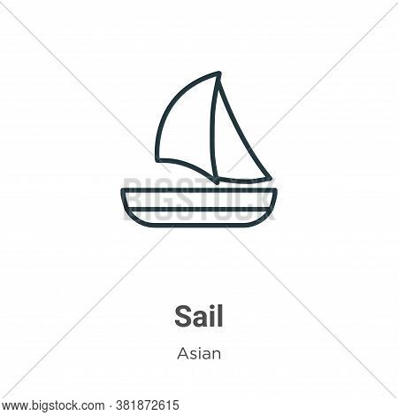 Sail icon isolated on white background from asian collection. Sail icon trendy and modern Sail symbo