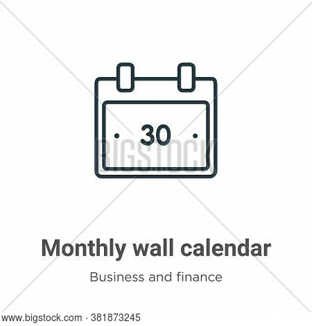Monthly wall calendar icon isolated on white background from business and finance collection. Monthl
