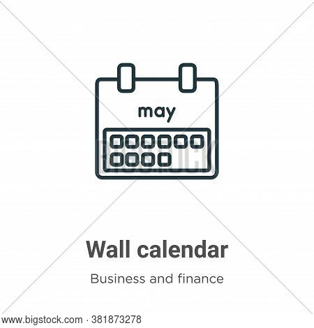 Wall calendar icon isolated on white background from business and finance collection. Wall calendar