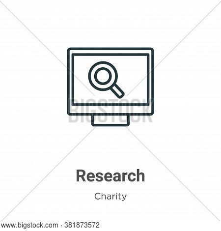 Research icon isolated on white background from charity collection. Research icon trendy and modern