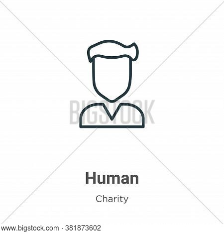 Human icon isolated on white background from charity collection. Human icon trendy and modern Human
