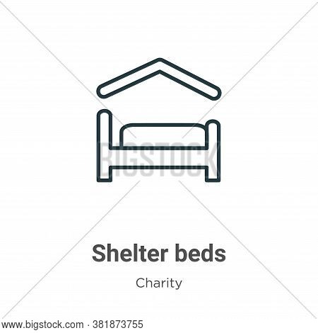 Shelter beds icon isolated on white background from charity collection. Shelter beds icon trendy and