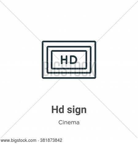 Hd sign icon isolated on white background from cinema collection. Hd sign icon trendy and modern Hd