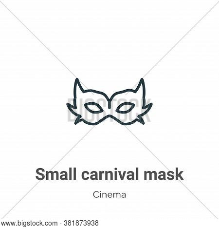 Small carnival mask icon isolated on white background from cinema collection. Small carnival mask ic