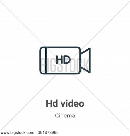 Hd video icon isolated on white background from cinema collection. Hd video icon trendy and modern H