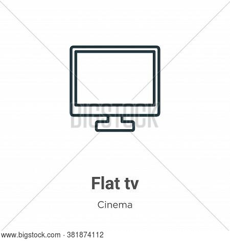 Flat tv icon isolated on white background from cinema collection. Flat tv icon trendy and modern Fla