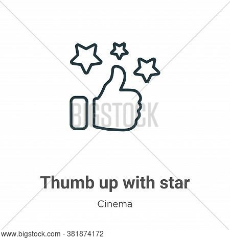 Thumb up with star icon isolated on white background from cinema collection. Thumb up with star icon
