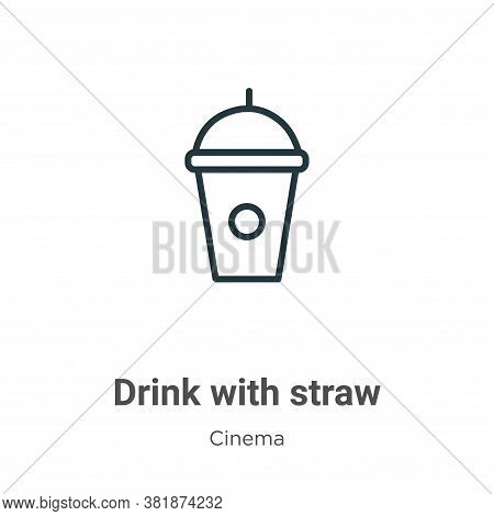 Drink with straw icon isolated on white background from cinema collection. Drink with straw icon tre