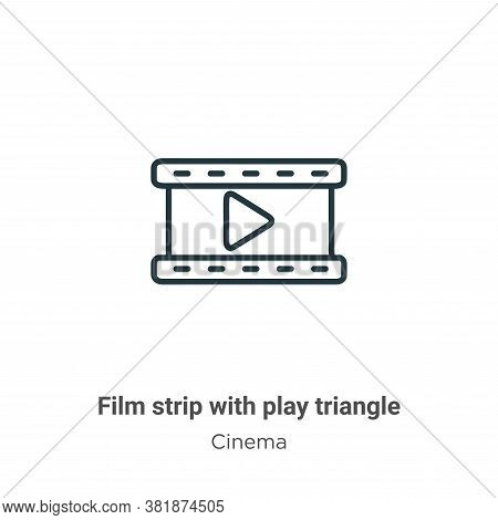 Film strip with play triangle icon isolated on white background from cinema collection. Film strip w
