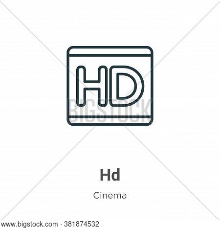 Hd logo icon isolated on white background from cinema collection. Hd logo icon trendy and modern Hd