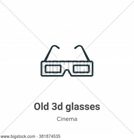 Old 3d glasses icon isolated on white background from cinema collection. Old 3d glasses icon trendy