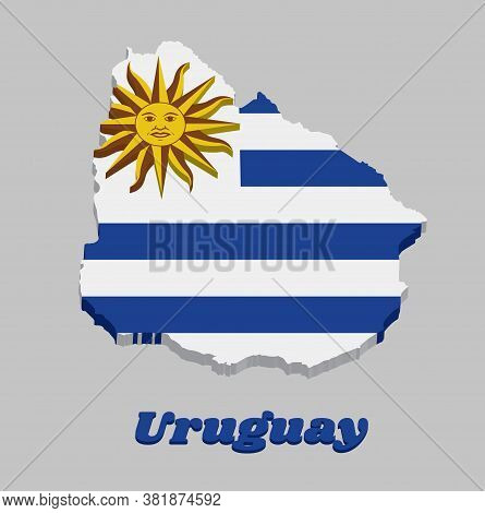 3d Map Outline And Flag Of Uruguay, Horizontal Stripes Of White Alternate With Light Blue And The Su