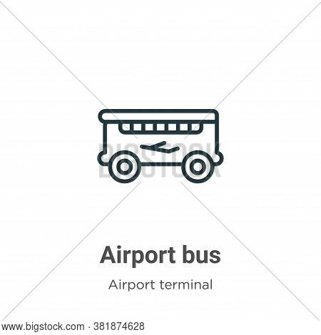 Airport bus icon isolated on white background from airport terminal collection. Airport bus icon tre