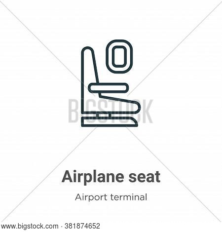 Airplane seat icon isolated on white background from airport terminal collection. Airplane seat icon
