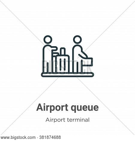 Airport queue icon isolated on white background from airport terminal collection. Airport queue icon