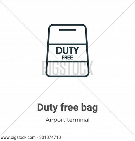 Duty free bag icon isolated on white background from airport terminal collection. Duty free bag icon